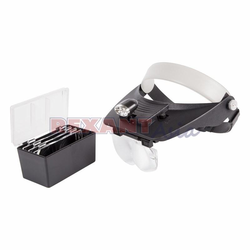 Бинокуляр монтажный REXANT, 1.2х, 1.8х, 2.5х, 3.5х с 2хLED подсветкой, (12-0402 )