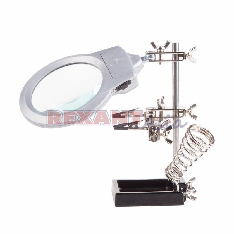 Держатель «Третья рука» с лупой х2.5 подставкой под паяльник и LED подсветкой REXANT, (12-0253 )