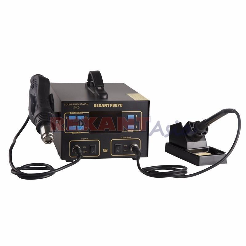 Паяльная станция REXANT, 2 в 1: паяльник+термофен, с ЖК дисплеем, 100-480 °С, (12-0727 )