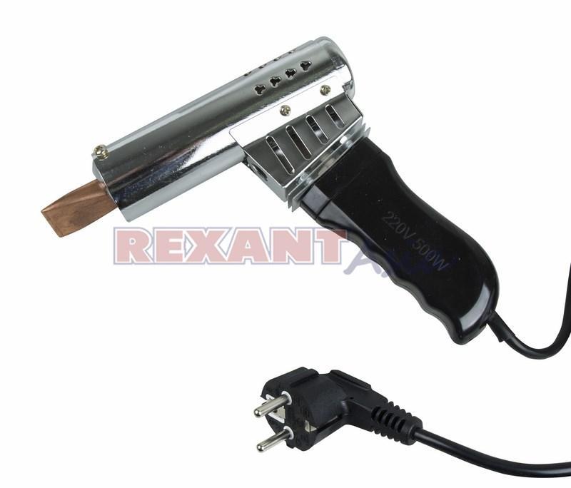 Паяльник-пистолет ПП REXANT 220 В/500 Вт, пластиковая ручка, (12-0215 )