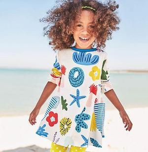 """Платье  детское, """"Подводный мир"""", цвет белый 7 лет"""