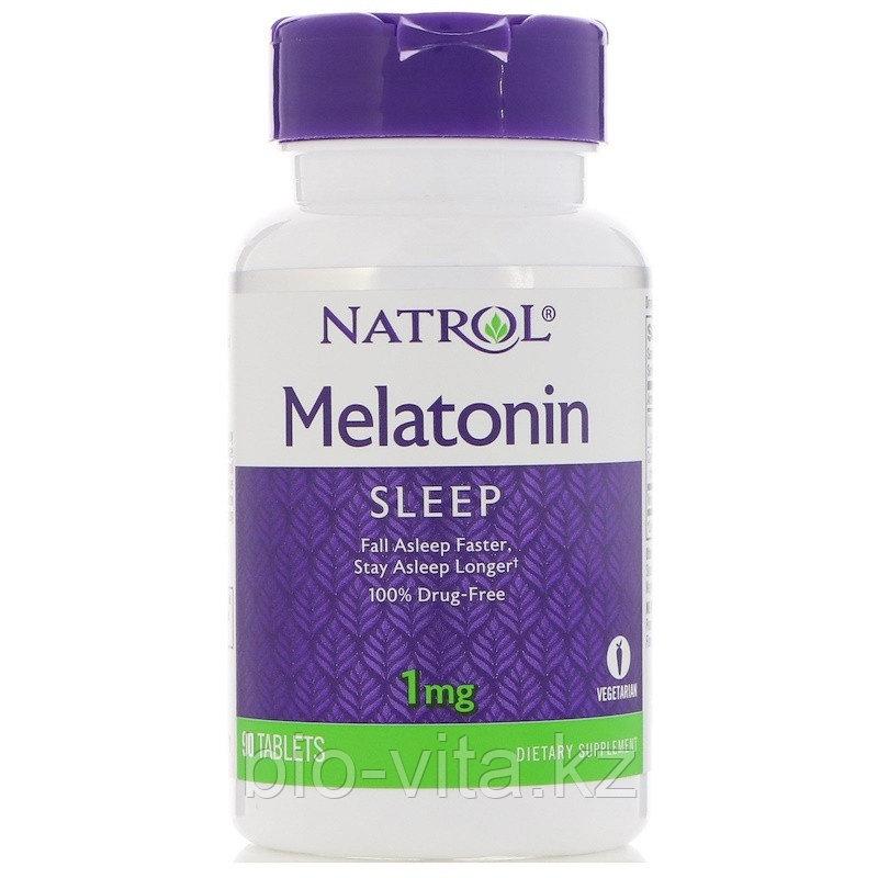 Мелатонин  1 мг, 90таблеток.  Natrol, Мелатонин
