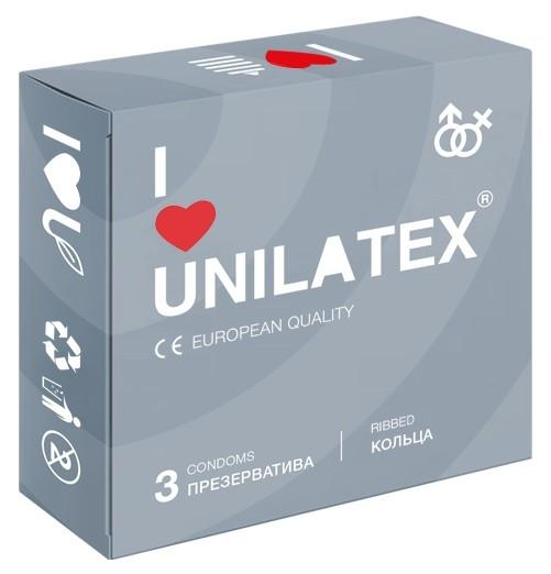 """Презервативы """"UNILATEX """"RIBBED"""" с рифлёной поверхностью, в упаковке 3 штуки"""