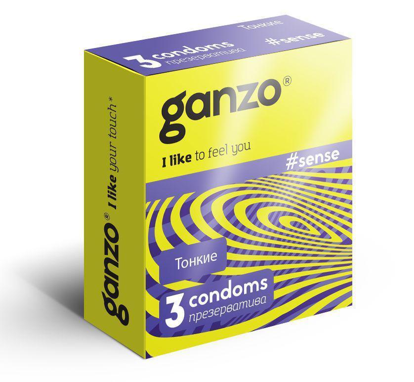 """Тонкие презервативы """"GANZO SENSE"""",  3 штуки"""