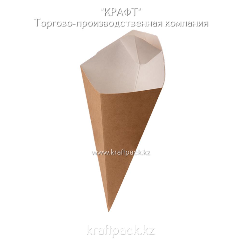 Конусная упаковка для картофеля фри c соусником L 126*50*135 (Eco Cone L) DoEco (50/400)
