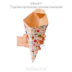 Конусная упаковка для картофеля фри c соусником L ENJOY 126*50*135 (Eco Cone L Enjoy) DoEco (40/400)