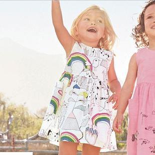 Платье детское, с радугой, цвет белый, 18 мес