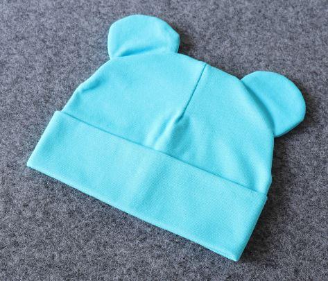 Шапочка с ушками, цвет голубой