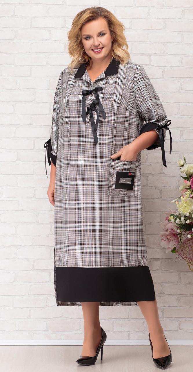 Платье Aira Style-708, клетка с черным, 62