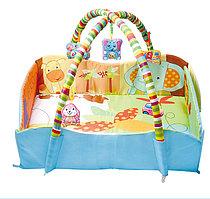 Развивающий коврик детский с бортиками, для младенцев с игрушками 80*60*60 см JS Baby Carpet