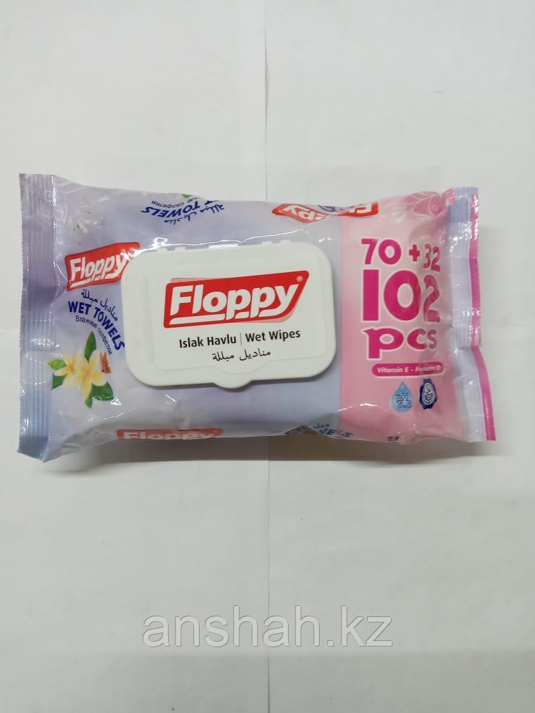 Влажные салфетки   Floppy  102шт     с Крышкой