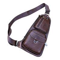 Мужская сумка-рюкзак через плечо Jeep (Шоколадный)