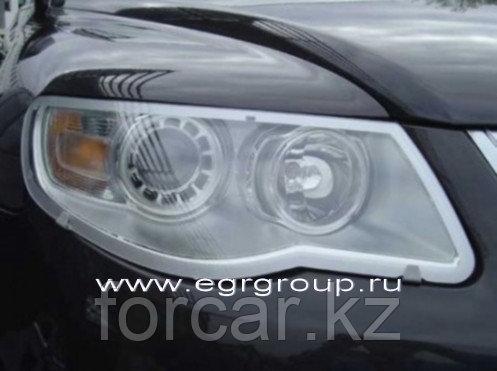 Защита передних фар темная, карбон, прозрачная VW Touareg 2007-2010, фото 2