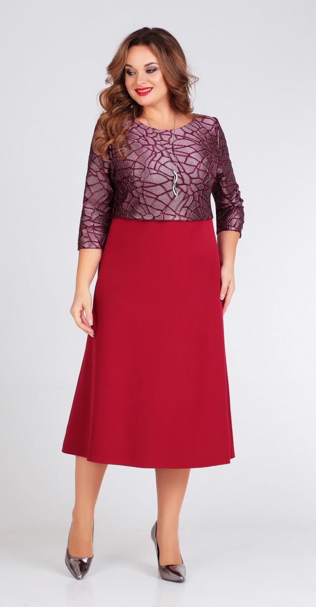 Платье Ксения стиль-1705/1, бордо, 50