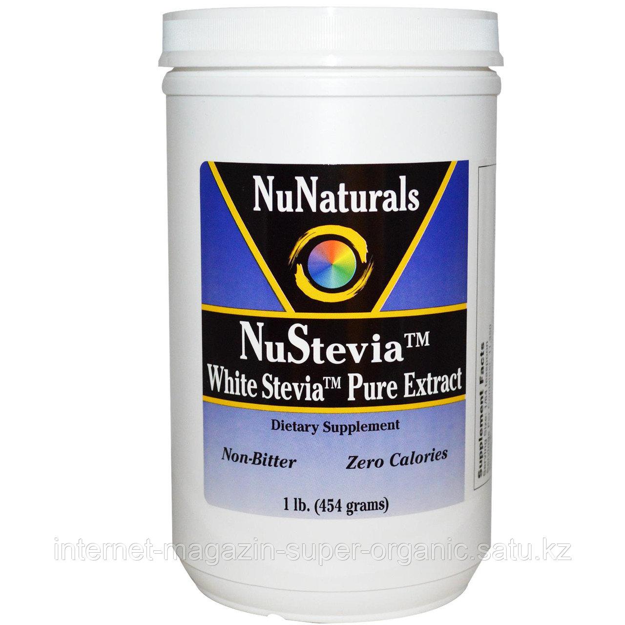 Стевия 100%, без добавок и наполнителей, экстракт в порошке, 454 г, NuNaturals, банка