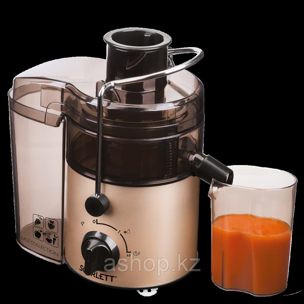 Соковыжималка центробежная для овощей и фруктов Scarlett SC-JE50S34, 800 Вт, Объем сока: 0,6 л, Диаметр отверс