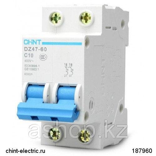 Автоматический выключатель реечный Chint DZ47-60 2P 63А, 230/400 В, Кол-во полюсов: 2, Предел отключения: 4,5