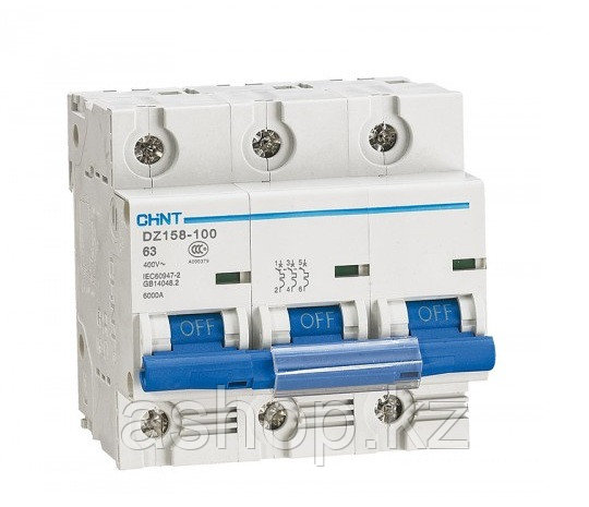 Автоматический выключатель реечный Chint DZ158-100 3P 100А, 230/400 В, Кол-во полюсов: 3, Предел отключения: 1