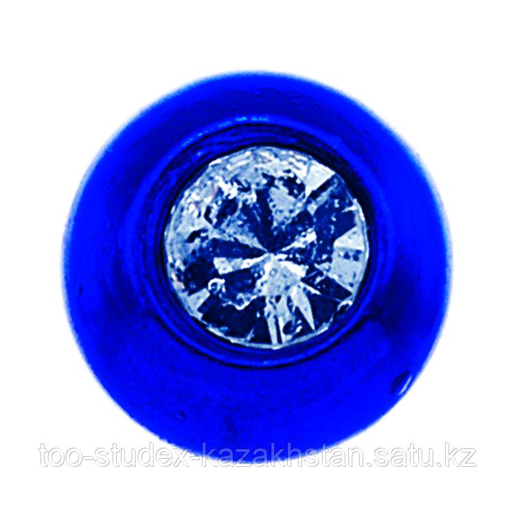 """Серьги-иглы System75™ ТИТАН синего цвета """"Шарик"""" 4 мм"""