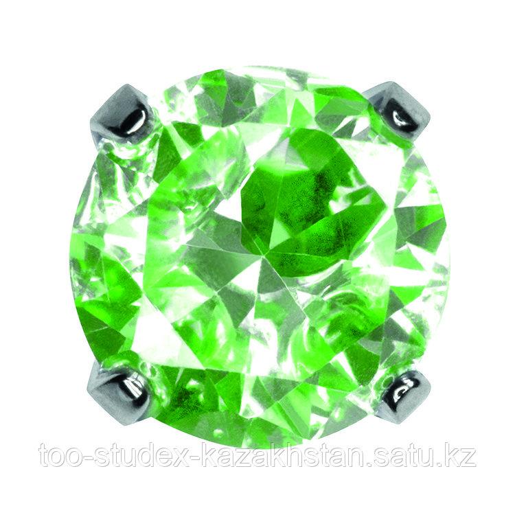 """7592-0162 Серьги-иглы System75™ с кубиком циркония 5 мм """"Neon"""" с зеленым отливом"""