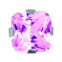7522-0450 Серьги-иглы System75 с розовым кубиком циркония 4 мм