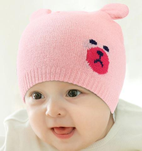 """Шапочка осенняя """"Мишка"""", цвет розовый"""