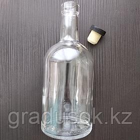 """Бутылка стеклянная """"Домашняя"""" 1 л с корковой пробкой"""