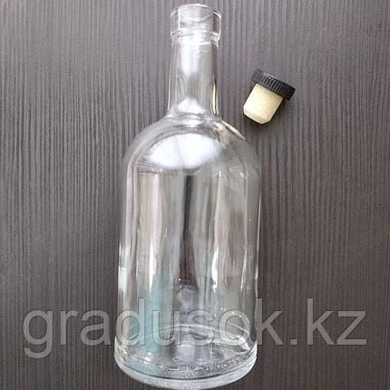 """Бутылка стеклянная """"Домашняя"""" 1 л с корковой пробкой, фото 2"""