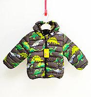 Куртка осенняя с Динозаврами для мальчиков от 2 до 7 лет, серый.