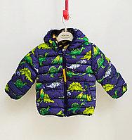 Куртка осенняя с Динозаврами для мальчиков от 2 до 7лет, синий.
