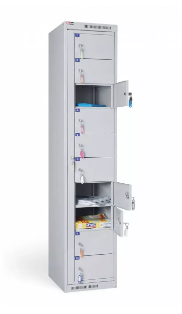 Шкаф металлический абонентский 10 ячеек (380х450х1820) арт. АС 1010
