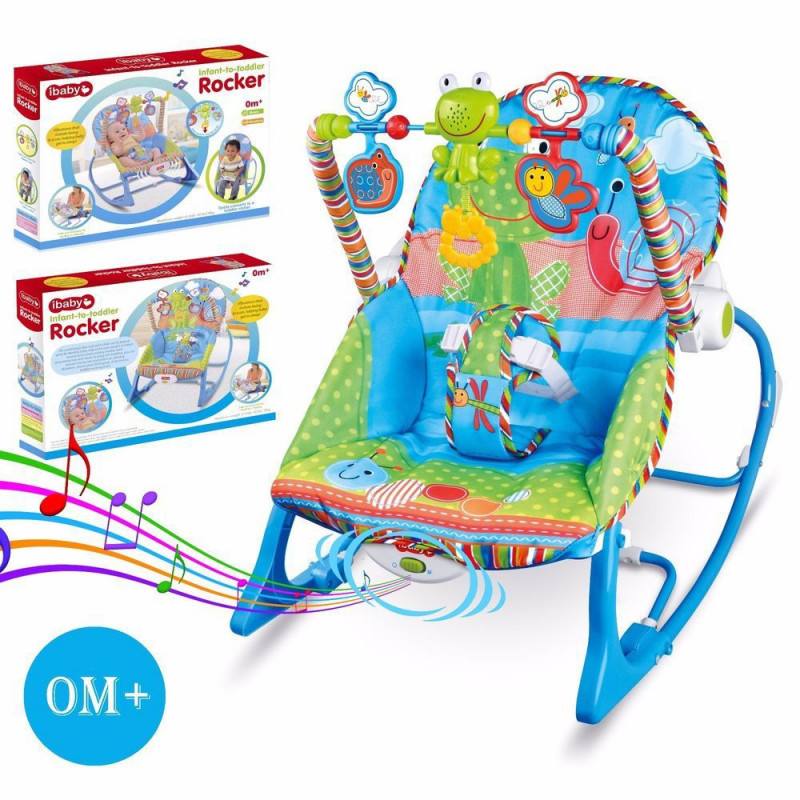 Детское кресло качалка шезлонг с музыкой и игрушками I-baby Rocker