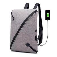 Рюкзак тонкий городской водонепроницаемый с косой молнией UNO и выходом USB (Серый)