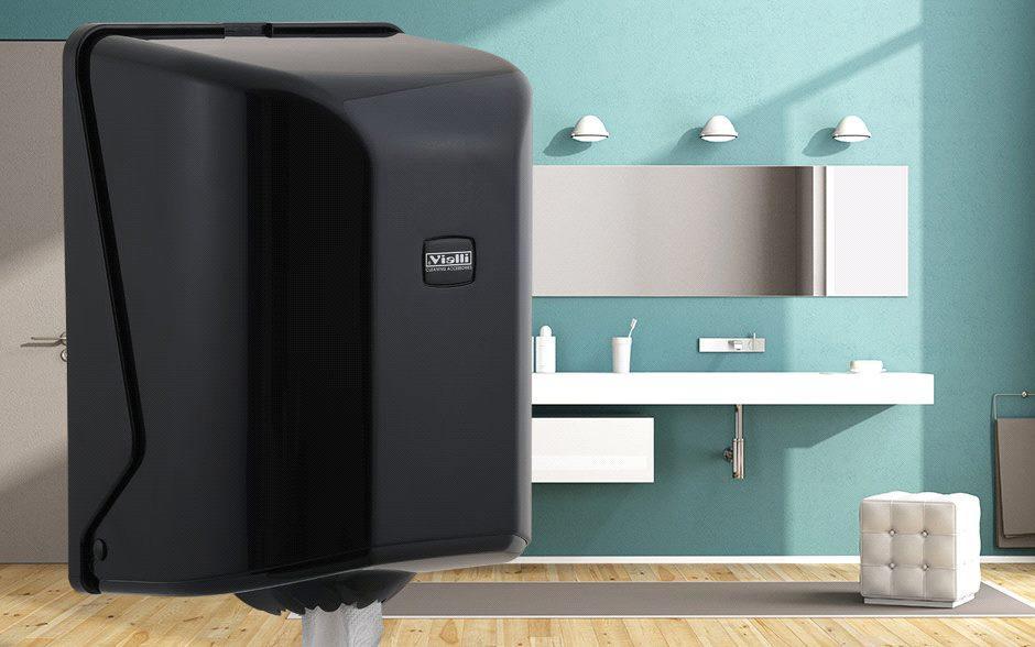 Диспенсер бумажных полотенец с центральной подачей (черный)