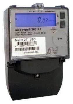 """Счетчик """"Меркурий"""" 203.2Т GBO 5-60А 1 класс точности; многотарифный; оптопорт GSM (московское время)"""