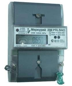 """Счетчик """"Меркурий"""" 206 RN 5-60А 1.0/2.0 класс точности; многотарифный; оптопорт RS485 (московское время)"""