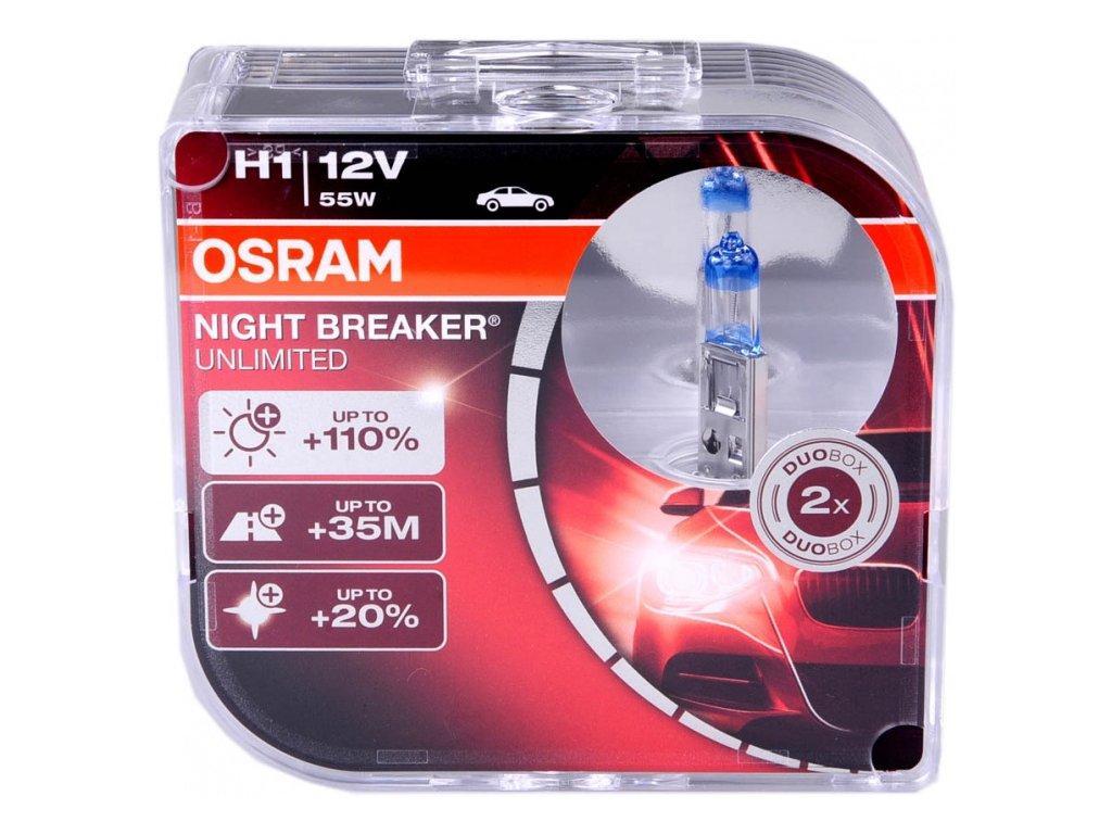 Галогеновая лампа Н1 Osram Night Breaker Unlimited +110% 3800К комплект 2шт.