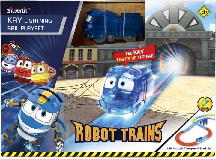 """Роботы-поезда, Игровой набор """"Железная дорога и светящийся Кей"""""""