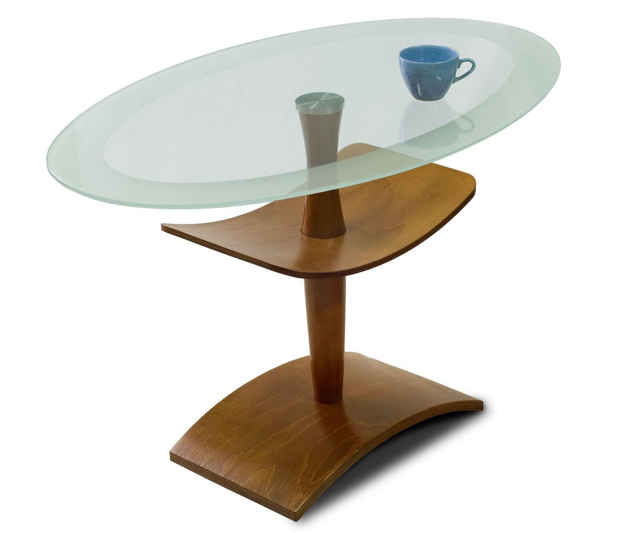 Стол журнальный Рио 3 Средне-коричневый/ прозрачное