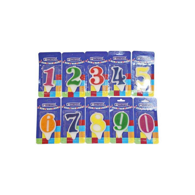 """Свеча для торта цифра 1 """"Волна"""" цвет в ассортименте вес 15г d 9*5мм"""