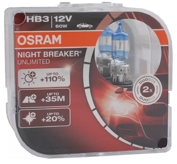 Галогеновая лампа HB3 Osram Night Breaker Unlimited +110% 3800K 2лампы