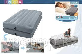 Односпальная надувная кровать 2 в 1 на клипсах Intex  67743 (99Х191Х46см)