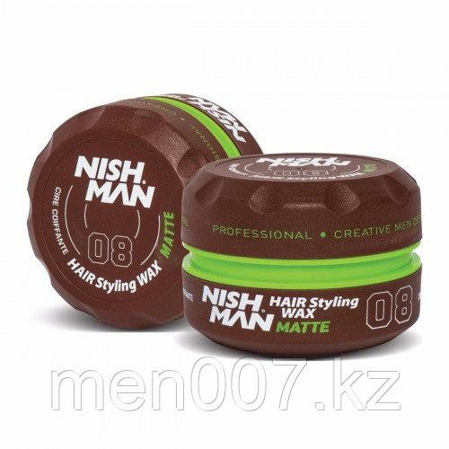 Nishman Matte «Черная ваниль» 08 (Воск для укладки волос) 150 мл.