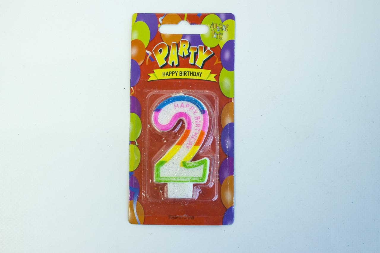 """Свечи для торта цифра 2 """"Party"""""""