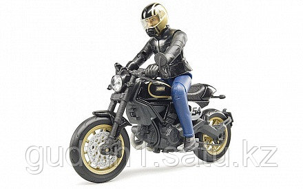 Мотоцикл Bruder Scrambler Ducati Cafe Racer с мотоциклистом 63-050