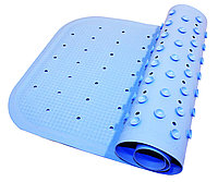 Антискользящий резиновый коврик для ванны ROXY-KIDS 34,5х76 см голубой (с отверстиями)