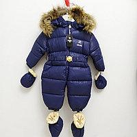 """Зимний комбинезон детский """"Chanel"""" от 3 до 24 месяцев, синий., фото 1"""