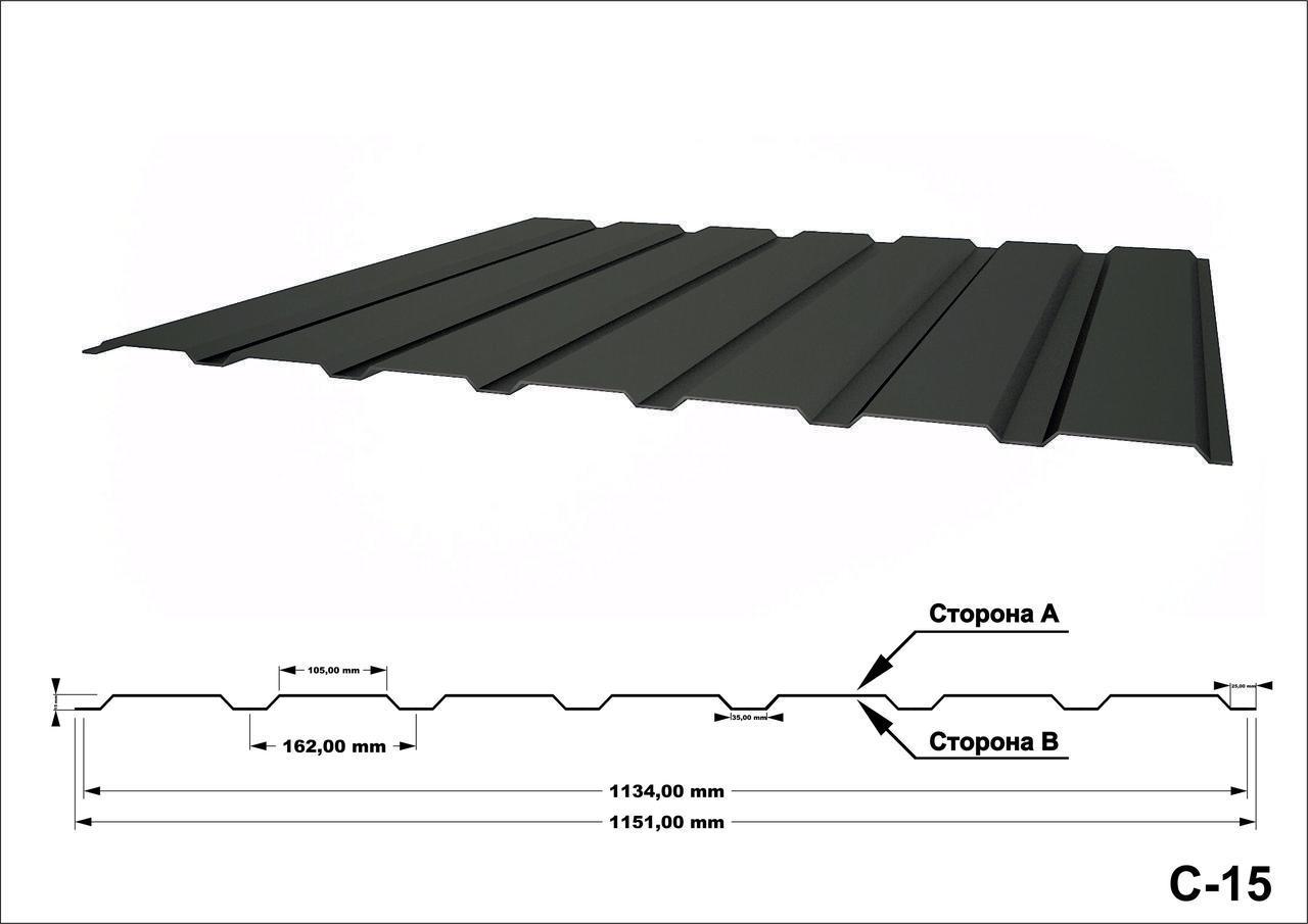 Профнастил оцинкованный С15 0,45мм