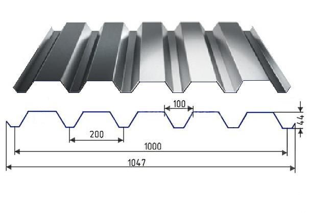 Профнастил оцинкованный Н44 0,60мм