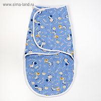 Пеленка-кокон на липучках, рост 50-62 см, кулирка, цвет голубой, МИКС